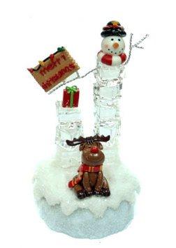 Новог. композиция 119891 Снеговик ледяной 11*9*17 см  с подсвет.