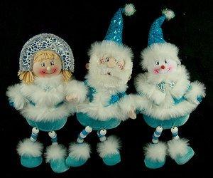 Новог. сувенир 175454 Дед Мороз/Снеговик/Снегур 40см 3 вида в асс.