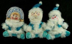 Новог. сувенир 175455 Дед Мороз/Снеговик/Снегур 35см 3 вида в асс.