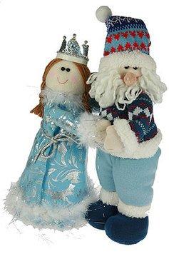 Новог. сувенир 175791 Дед Мороз и Снегурочка 38 см голубой