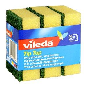 Губка 106067 Tip top для посуды 2-x слойная 3шт.  Vileda