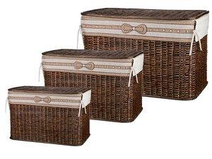 Набор корзин для белья 131-186 с крышкой и чехлом из 3 шт