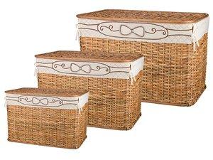 Набор корзин для белья 131-204 с крышкой и чехлом из 3 шт