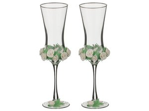 Набор 135-3130 свадебных бокалов из 2-х шт 180 мл, 18 см лепка