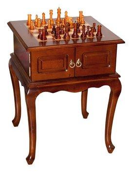 Шахматный стол 176-067 с деревянными фигурками