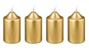Набор свечей 348-447 из 4 шт 8*4 см золотой металлик