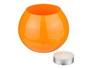 Подсвечник 381-629 со свечой оранжевый, высота 8 см