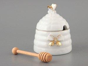 Банка 55-2521 для мёда и деревянная палочка, высота 12 см
