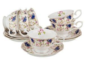 Чайный набор 779-066 на 6 персон 12 пр. 200мл голубой