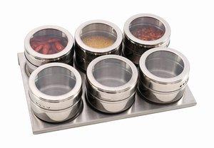 Набор для специй 912-004, 6 предметов на магнитах, метал.подставка