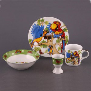 87-009 Набор детской посуды Попугай 4 предмета