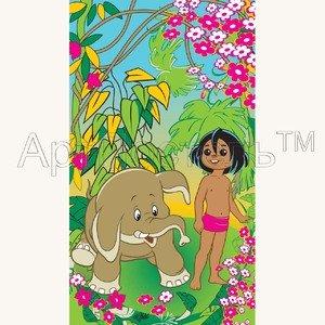 Детское махровое полотенце Маугли в ас-те Артпостель