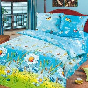 Русское поле голубой постельное белье Артпостель бязь