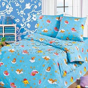 Облачко синий детское постельное белье Артпостель бязь